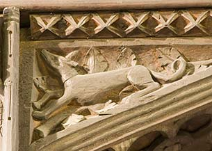 Detail of carving at Conwy.
