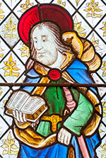 Stained glass image of St James, Llanasa.