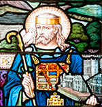 Image of St David in stained glass, at Llanbadarn Fawr.