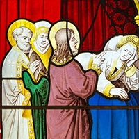 Stained glass at Llanwenllwyfo.
